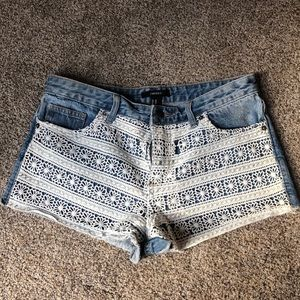 Forever 21 Jean shorts with floral design